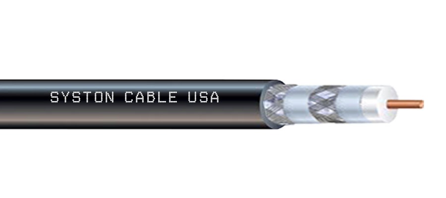 Clearband® Premium RG6 Quad Shield Cable by Syston Cable Technology can be used indoor or outdoor locations. The quad shielding shown in this image delivers the lowest interference experience.