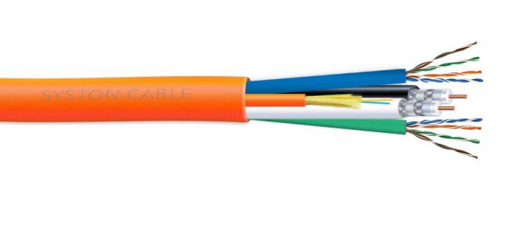 9759 2 x Cat 5E CMR + 2 RG6 Quad CL23R + 2 MM OFNR Fiber Overall Jacket Multimedia Cable